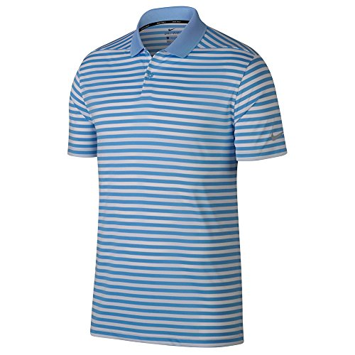 NIKE Mens Dry Victory Stripe Polo Golf Shirt University Blue/White/Black vHMBT