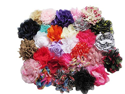 - YYCRAFT 30pcs Chiffon Hair Flower Solids and Prints Included for Girls Headband Baby Flowers Bows,Crafts,Party Decoration(3