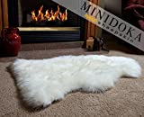 "Large New Zealand Sheepskin Single Pelt Ivory Rug, XL 103cm / 40"", Thick Soft Luxurious Natural Wool, by Minidoka Sheepskin"