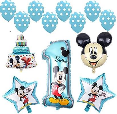 Shopama Globos decoraciones BOLAS Helio 1 Cumpleaños 1 Año Fiesta Azul Niño niño