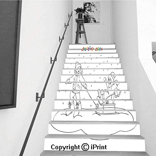 (Stair Stickers Wall Stickers,13 PCS Self-Adhesive,Stair Riser Decal for Living Room, Hall, Kids Room,Coloring Book or Page Boy and Girl with sled)
