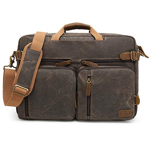 CoolBELL Laptop Messenger Bag Vintage Shoulder Bag Convertible Backpack Retro Briefcase Versatile Travel Bag Fits 17.3 Inch Laptop for Men/College/Business / (Waxed Canvas ()