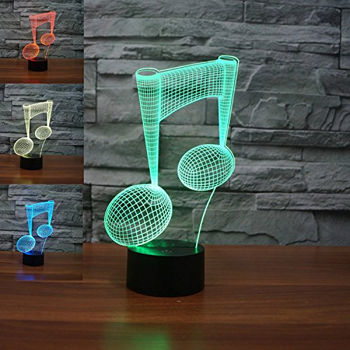 ATC New Fashion 3D Vision Illusion Music Notes 7 Changing Colors Touch USB Table Desk Lamp Night Light for Home Arts Decoration Toy Bedside Illumination