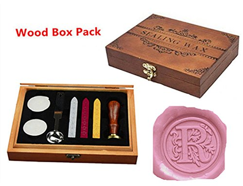 - Luxury Letter R Wood Gift Box Pack Vintage Alphabet Initial Engraved Wedding Invitation Classical Old-fashioned Antique Wax Seal Sealing Stamp Wax Sticks Melting Spoon Stamp Maker Gift Box Kit Set (R)