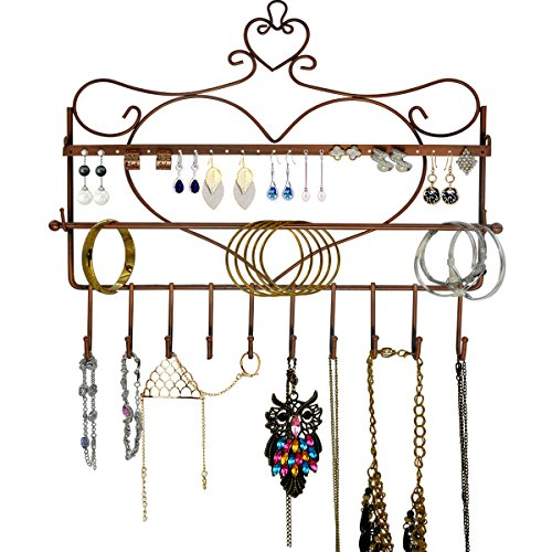 Rbenxia Wall Mount Heart Shape Jewelry Organizer Hanging Earring Holder Necklace Display Stand Rack Gold