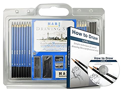 26 Drawing Pencils and Drawing Pencil Set - Learn to Draw With the Best Art Pencil Kit - Quality Art Pencils - Charcoal Pencils and Drawing Pencils Tutorial - Beginners Pencil - Magnetic Circle Cutter