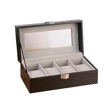 Olydmsky Cajas para Relojes,Carbono Fibra 4 bits Caja Reloj Flip Almacenamiento de empaques Caja