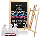 Granger & Co | 12 x 18 inch Vintage Letter Board Bundle | Oak Frame with Black Felt Board | 850+ Characters White, Blue and Pink with Emojis | BONUS Stand, 3 Cotton Bags and Snipping Tool
