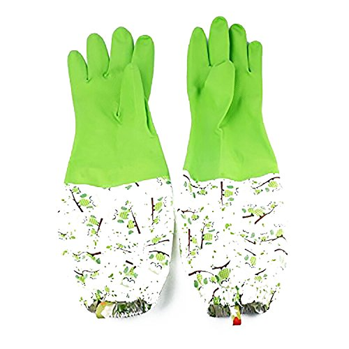Mackertop Rubber Kitchen Latex Gloves Waterproof Cleaning Gloves with Lining, Dish Washing Laundry House Cleaning Gloves (Green)
