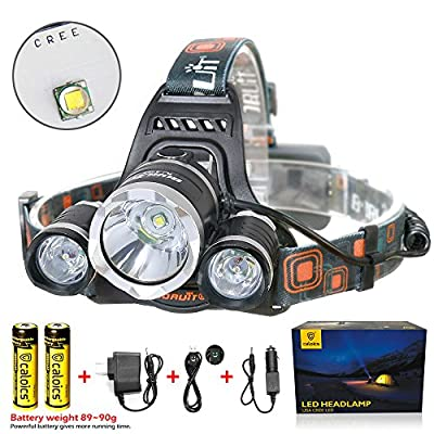 Boruit LED Headlamp 3xOriginal Cree XMK T6 5000 Lumens Waterproof Headlight with SOS Whistle & Rechargeable 18650 Batteries Flashlight for Camping Running Hunting Reading Headband Light