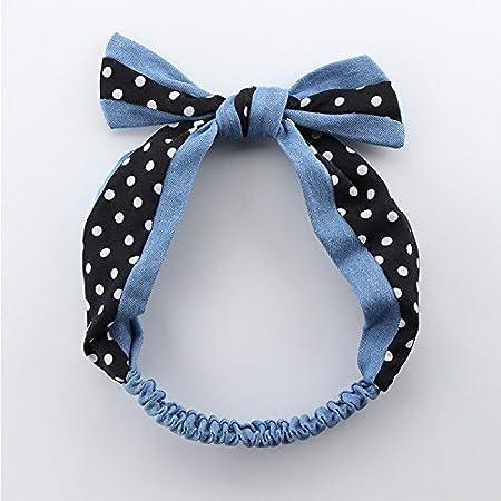 9cm bianco jingyuu fascia in motivo a pois bianco e nero cintura di capelli in stile retr/ò nastro capelli accessori per donna 26