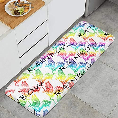 Rave Rainbow Unicorn Anti Fatigue Kitchen Mat Natural Fiber Carpets Non-Slip Kitchen Rug