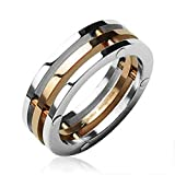 3-Connected Pieces Rose Gold IP Center Stainless Steel ring