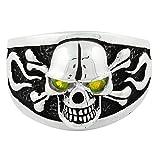 Flaming Danger Skull Sterling Silver Olive Green Cubic Zirconia Eyes