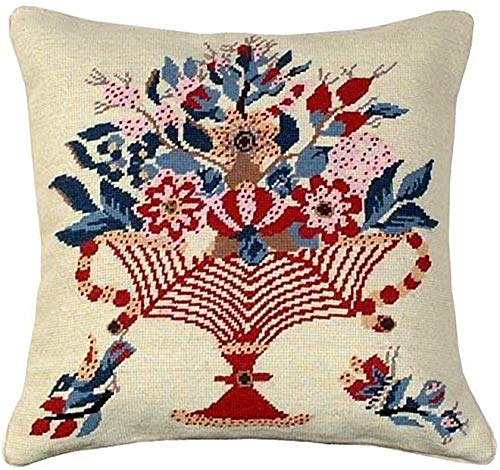 EuroLuxHome Throw Pillow Needlepoint Vase Bird Star 18x18 Blue Red Cotton Velvet Wool