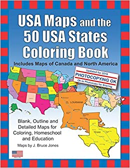 North Of Usa Map.Amazon Com Usa Maps And The 50 Usa States Coloring Book Includes