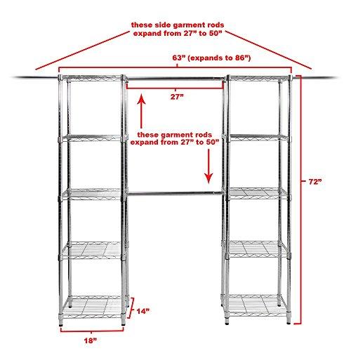 Amazon.com: Seville Classics Expandable Closet Organizer System, 63 To  186 Inch: Home U0026 Kitchen
