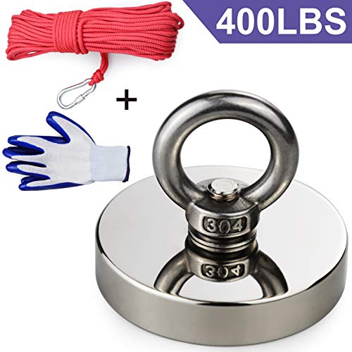 Super Strong Neodymium Fishing Magnet, 400 lbs(181KG) Pulling Force Rare Earth Magnets, Strong Retrieval Magnet N52 Neodymium Magnets with 20m (65 Foot) Durable Rope and Protective Gloves