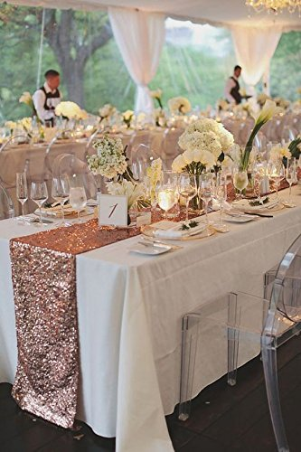 ACRABROS Sequin Table Runners Rose Gold- 12 X 108 Inch Glitter Rose Gold Table Runner-Rose Gold Party Supplies Fabric Decorations for Wedding Birthday Baby Shower by ACRABROS (Image #6)