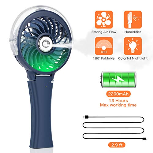 (COMLIFE Handheld Misting Fan Portable Fan Facial Steamer-Rechargeable Battery Operated Fan, Foldable Travel Fan with Cooling Humidifier and Colorful Nightlight for Camping, Hiking, Outdoor (Blue))