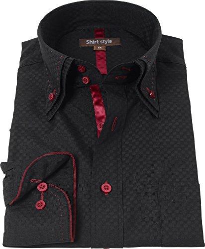 ピック解説究極のシャツスタイル(shirt style)ysh-2001/S M L LL 3L/ワイシャツ メンズ 黒 ボタンダウン おしゃれ