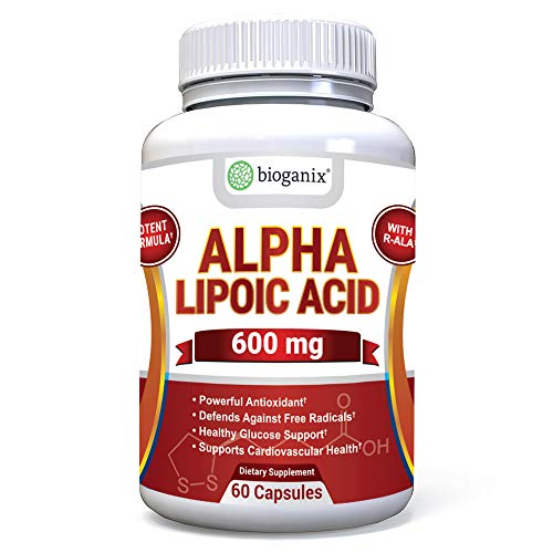 BioGanix Alpha Lipoic Acid Supplement 600mg Capsules (w/R-Lipoic Acid) - Potent Natural Antioxidant Formula - Defend Against Free Radicals, Support Blood Sugar & Promote Cardiovascular Heart Health