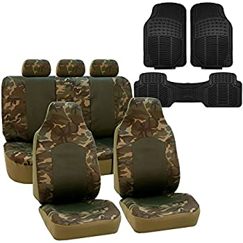FH GROUP FB108115 Camouflage 2 Tone Dark Camo Car Seat Covers Airbag Compatible Split With F11306 Vinyl Floor Mats Fit Most Truck Suv Or Van