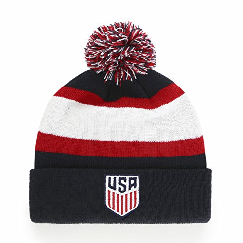 Team Knit Beanie (World Cup Soccer United States Rush Down OTS Cuff Knit Cap with Pom, Navy, One Size)