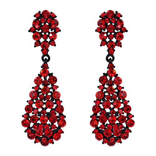 EVER FAITH Women's Austrian Crystal Party Retro Hollow-out Teardrop Dangle Earrings Red Black-Tone