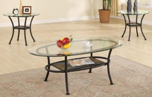 3pc Metal Coffee Table & End Tables Set in Black Finish (1 Barrel Table 2 Coffee)