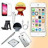 Apple iPod Touch 6th generation Music player, 32GB -GOLD- w/ iTouch Accessory Kit includes; Bluetooth Speaker + Clear Case & Screen Protector + ipod 5-Angle Adjustable Stand + iPod Stylus Pen + Cloth