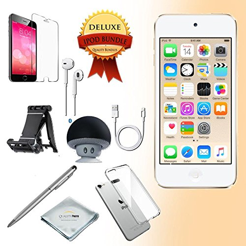 generation Music player, 32GB -GOLD- w/ iTouch Accessory Kit includes; Bluetooth Speaker + Clear Case & Screen Protector + ipod 5-Angle Adjustable Stand + iPod Stylus Pen + Cloth (Itouch Ipod Video)