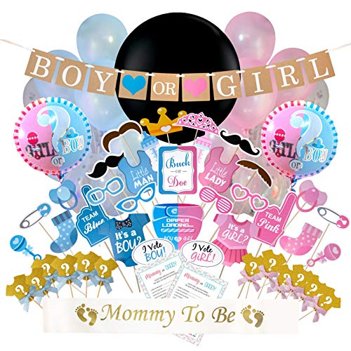- The Rustic Rooster Baby Gender Reveal Party Supplies; 118 Pieces Decorations Include: Game, Reveal Balloon, Pink and Blue Balloons for Girl or Boy, Confetti, Cake Topper, Photo Props, and More!