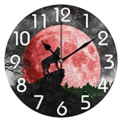 Ralally Magic Wolf Howling at Red Moon Print Decorative Round Wooden Wall Clock - 12 Inch