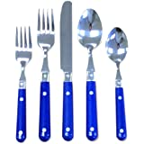 Ginkgo International Le Prix 20-Piece Stainless Steel Flatware Place Setting, Bright Blue, Service for 4