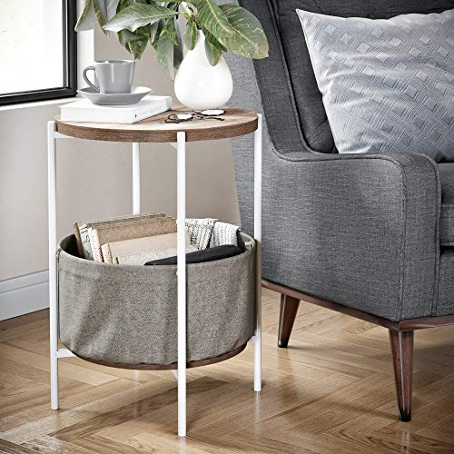 Nathan James 32202 Oraa Round Wood Side Table with Fabric Storage, Light Brown/White (Nightstand White Round)