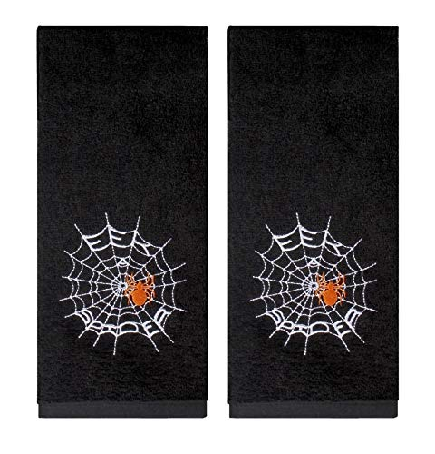 Eek A Spider Halloween Black Hand Towels - Set of 2 ()