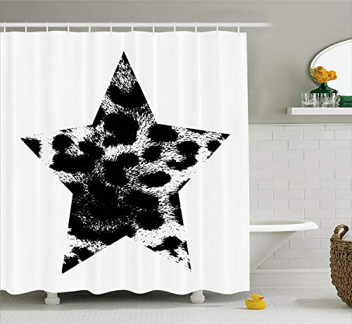 Ambesonne Leopard Print Shower Curtain, Star with Leopard Texture with Grunge Effect Hipster Geometrical Design, Cloth Fabric Bathroom Decor Set with Hooks, 75 inches Long, Black White