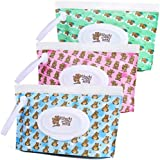 Handy Teddy Wet Wipe Pouch [Set of 3] Reusable Refillable Clutch Dispenser Holder Case for Baby or Personal Use – BPA-Free Sanitary – Pouch Capacity 30 Wipes Min – Convenient and Great for Travel!