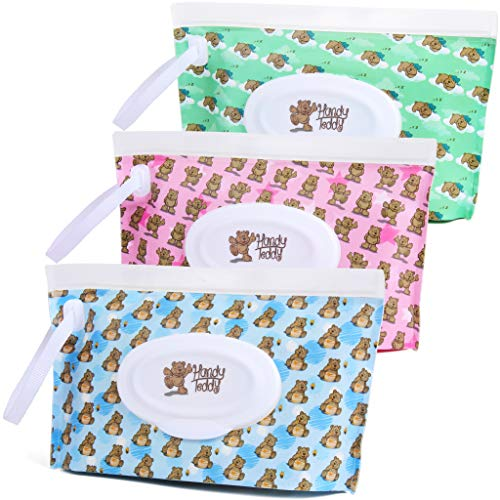 Handy Teddy Wet Wipe Pouch [Set of 3] Reusable Refillable Clutch Dispenser Holder Case for Baby or Personal Use ? BPA-Free Sanitary ? Pouch Capacity 30 Wipes Min ? Convenient and Great for Travel!