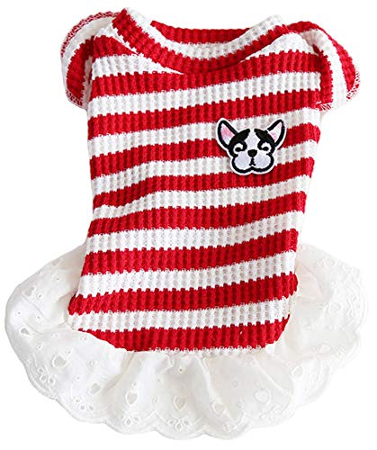 MaruPet Christmas Dog Ribbed Knit Sweater Sweater Princess Sweetheart Kintted Doggie Halloween Hoodie Costume Puppy A-Red S ()