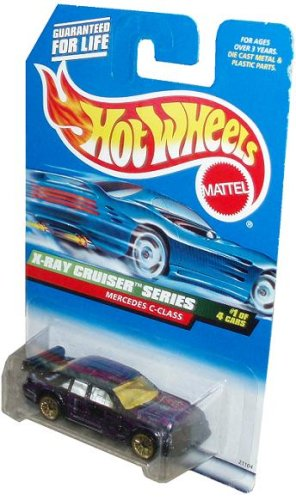 Mattel Hot Wheels 1998 X-Ray Cruiser Series 1:64 Scale Die Cast Metal Car # 1 of 4 - Purple Luxury Sedan MERCEDES C-CLASS with Spoiler (Collector # ()