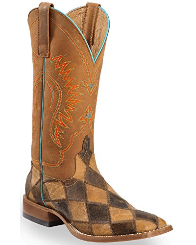 Horse Power Men's Patchwork Western Boot Square Toe Brown 10.5 EE US