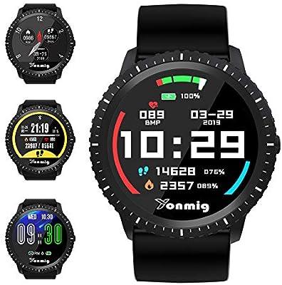 Reloj Inteligente, YONMIG Smartwatch con Pulsómetro, Monitor de Calorías, Podómetro, Impermeable IP68 Pulsera de Actividad, Monitor de Sueño Reloj ...