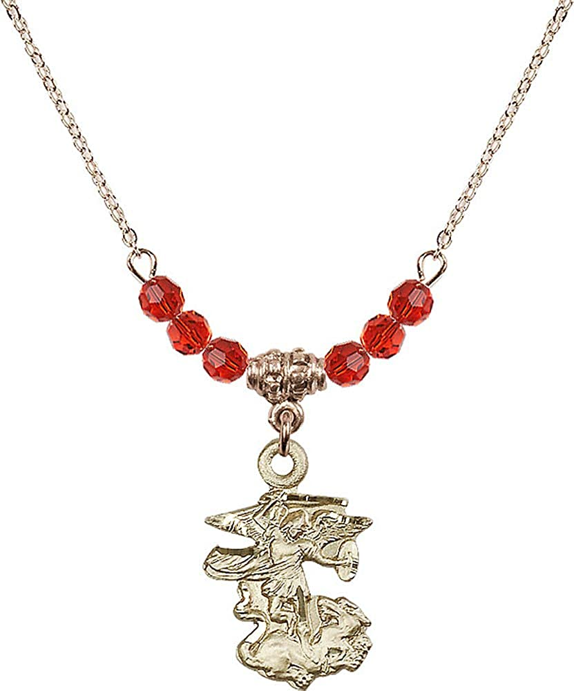 18-Inch Hamilton Gold Plated Necklace with 4mm Ruby Birthstone Beads and Saint Michael the Archangel Charm Red Ruby July Birthstone Patron Saint of Police Officers//EMTs
