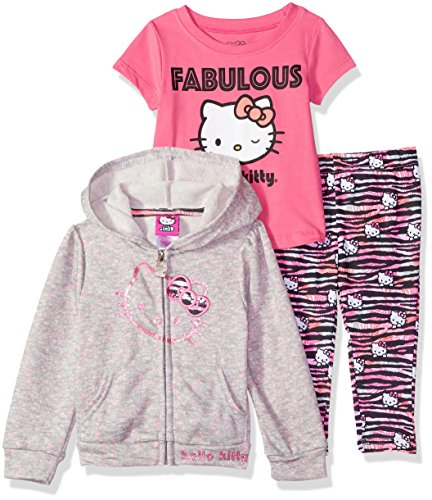 Hello Kitty Baby Girls 3 Piece Zip Up Hoodie Legging Set with T-Shirt, Heather Grey, 24M -