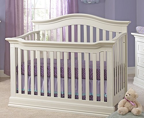 Baby Cache Natural Hardwood 4-in-1 Convertible Crib | Multigenerational Quality & Design | Kiln-dried & Hand-Crafted Construction | Montana Collection, Glazed White