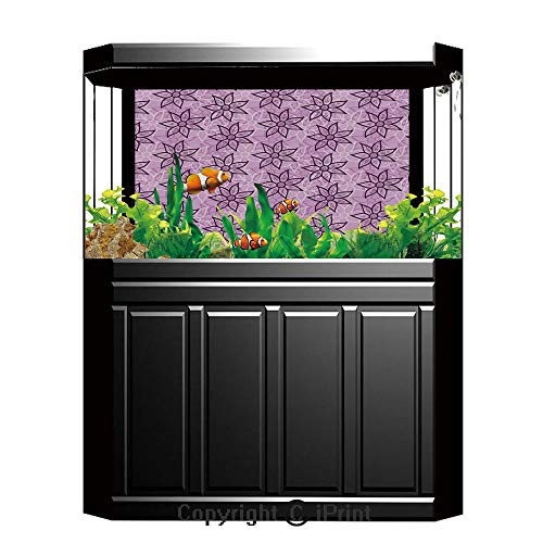 Terrarium Fish Tank Background,Purple,Macro Flowers Design with Glamour Leaves Spring Inspired Floral Charm Hand Drawn Style,Violet,Photography Backdrop for Pictures Party Decoration,W48.03