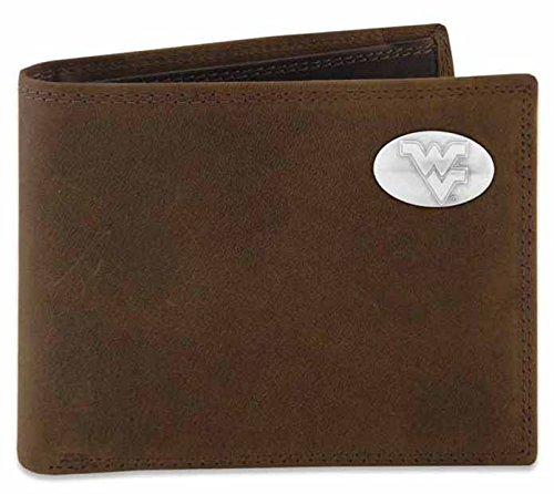 NCAA West Virginia Mountaineers Men's Zep-Pro Crazy Horse Leather Bi-Fold Concho Wallet, Brown, One Size