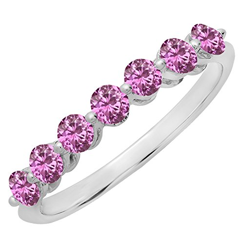 14K White Gold Round Pink Sapphire Ladies 7 Stones Wedding Band Ring (Size 7.5) (Natural Pink Sapphire Ring)